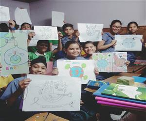 poster making competition was held in class viii on the occasion of earth day the topic of the event was save earth the students expressed their ideas